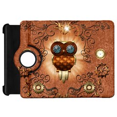 Steampunk, Funny Owl With Clicks And Gears Kindle Fire HD Flip 360 Case