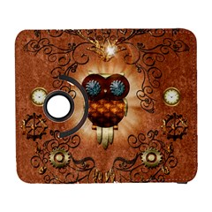 Steampunk, Funny Owl With Clicks And Gears Samsung Galaxy S  III Flip 360 Case