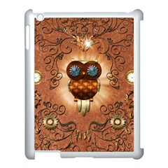 Steampunk, Funny Owl With Clicks And Gears Apple iPad 3/4 Case (White)