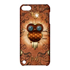 Steampunk, Funny Owl With Clicks And Gears Apple iPod Touch 5 Hardshell Case with Stand