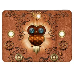 Steampunk, Funny Owl With Clicks And Gears Samsung Galaxy Tab 7  P1000 Flip Case