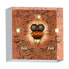 Steampunk, Funny Owl With Clicks And Gears 5  x 5  Acrylic Photo Blocks