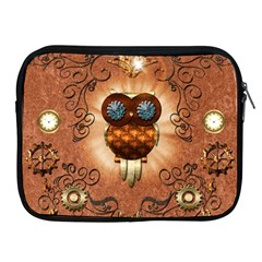 Steampunk, Funny Owl With Clicks And Gears Apple iPad 2/3/4 Zipper Cases