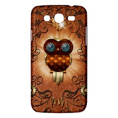 Steampunk, Funny Owl With Clicks And Gears Samsung Galaxy Mega 5.8 I9152 Hardshell Case