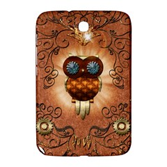Steampunk, Funny Owl With Clicks And Gears Samsung Galaxy Note 8.0 N5100 Hardshell Case