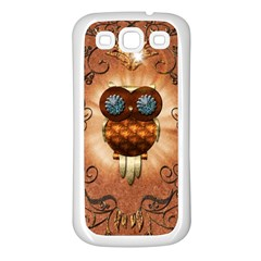 Steampunk, Funny Owl With Clicks And Gears Samsung Galaxy S3 Back Case (White)