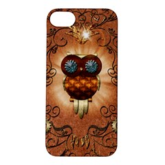 Steampunk, Funny Owl With Clicks And Gears Apple iPhone 5S Hardshell Case