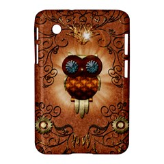 Steampunk, Funny Owl With Clicks And Gears Samsung Galaxy Tab 2 (7 ) P3100 Hardshell Case