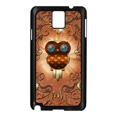 Steampunk, Funny Owl With Clicks And Gears Samsung Galaxy Note 3 N9005 Case (Black)