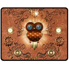Steampunk, Funny Owl With Clicks And Gears Double Sided Fleece Blanket (Medium)