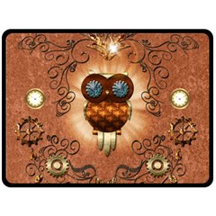 Steampunk, Funny Owl With Clicks And Gears Double Sided Fleece Blanket (Large)