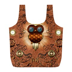 Steampunk, Funny Owl With Clicks And Gears Full Print Recycle Bags (L)