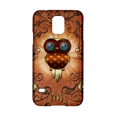 Steampunk, Funny Owl With Clicks And Gears Samsung Galaxy S5 Hardshell Case