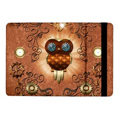 Steampunk, Funny Owl With Clicks And Gears Samsung Galaxy Tab Pro 10.1  Flip Case