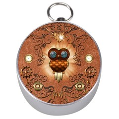 Steampunk, Funny Owl With Clicks And Gears Silver Compasses