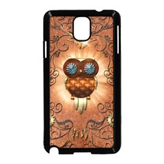 Steampunk, Funny Owl With Clicks And Gears Samsung Galaxy Note 3 Neo Hardshell Case (Black)