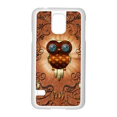 Steampunk, Funny Owl With Clicks And Gears Samsung Galaxy S5 Case (White)
