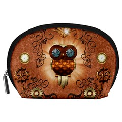 Steampunk, Funny Owl With Clicks And Gears Accessory Pouches (Large)
