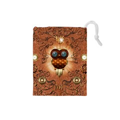 Steampunk, Funny Owl With Clicks And Gears Drawstring Pouches (Small)