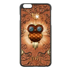 Steampunk, Funny Owl With Clicks And Gears Apple iPhone 6 Plus Black Enamel Case