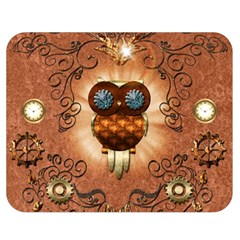 Steampunk, Funny Owl With Clicks And Gears Double Sided Flano Blanket (medium)