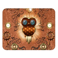 Steampunk, Funny Owl With Clicks And Gears Double Sided Flano Blanket (Large)