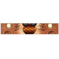 Steampunk, Funny Owl With Clicks And Gears Flano Scarf (Large)