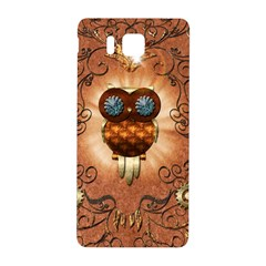 Steampunk, Funny Owl With Clicks And Gears Samsung Galaxy Alpha Hardshell Back Case