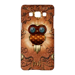 Steampunk, Funny Owl With Clicks And Gears Samsung Galaxy A5 Hardshell Case