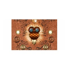 Steampunk, Funny Owl With Clicks And Gears Satin Wrap