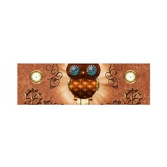 Steampunk, Funny Owl With Clicks And Gears Satin Scarf (oblong)