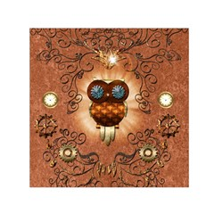 Steampunk, Funny Owl With Clicks And Gears Small Satin Scarf (square)
