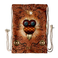 Steampunk, Funny Owl With Clicks And Gears Drawstring Bag (Large)