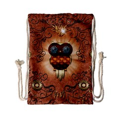 Steampunk, Funny Owl With Clicks And Gears Drawstring Bag (small)