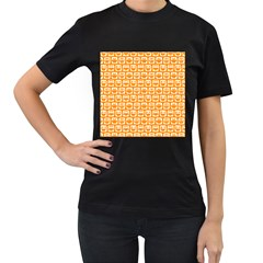 Yellow And White Owl Pattern Women s T-Shirt (Black) (Two Sided)