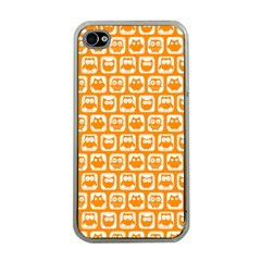 Yellow And White Owl Pattern Apple iPhone 4 Case (Clear)