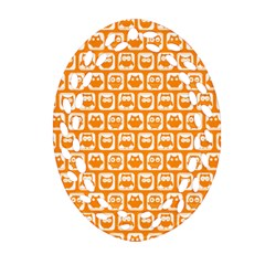 Yellow And White Owl Pattern Ornament (Oval Filigree)