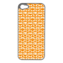 Yellow And White Owl Pattern Apple iPhone 5 Case (Silver)