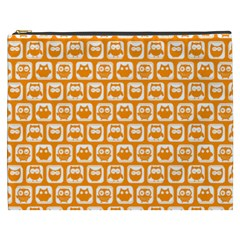 Yellow And White Owl Pattern Cosmetic Bag (XXXL)
