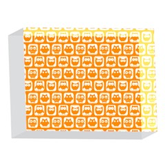 Yellow And White Owl Pattern 5 x 7  Acrylic Photo Blocks