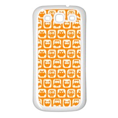 Yellow And White Owl Pattern Samsung Galaxy S3 Back Case (White)