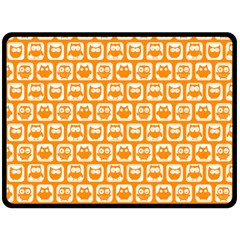 Yellow And White Owl Pattern Double Sided Fleece Blanket (Large)