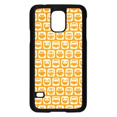 Yellow And White Owl Pattern Samsung Galaxy S5 Case (Black)