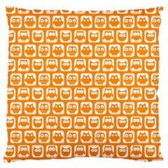 Yellow And White Owl Pattern Large Flano Cushion Cases (One Side)
