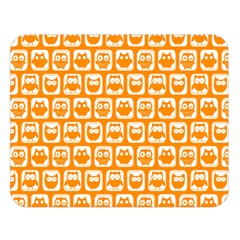 Yellow And White Owl Pattern Double Sided Flano Blanket (Large)