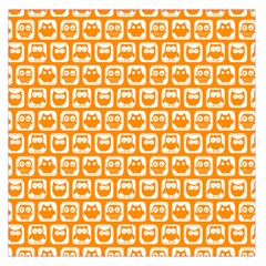 Yellow And White Owl Pattern Large Satin Scarf (Square)