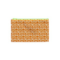 Yellow And White Owl Pattern Cosmetic Bag (XS)