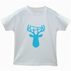 Party Deer With Bunting Kids White T Shirts