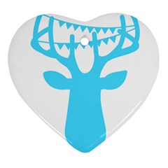 Party Deer With Bunting Heart Ornament (2 Sides)