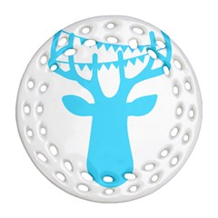 Party Deer With Bunting Round Filigree Ornament (2Side)